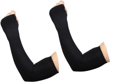 Atabz Black Finger less Thumb out Cotton Arm Warmer(Black)