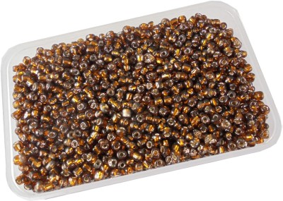 estore 200 gm brown silverline glass seed beads, 4mm, 6/0 beads for jewllery art and craft making diy kit
