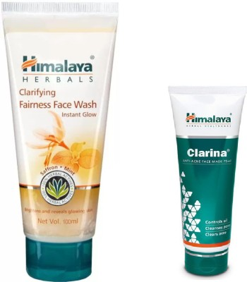Himalaya Herbals Clarifying Fairness Face Wash, anti acne face mask 2 Items in the set Himalaya Herbals Skin Care Combo