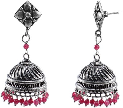 Silvesto India Silvesto India-Large Silver Jaipuri Jhumkas Earrings With Pink Quartz And Studs Crystal Alloy Jhumki Earring  available at flipkart for Rs.480