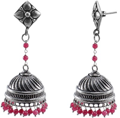 Silvesto India Silvesto India Oxidized-Danglers With Studs And Pink Beads Large Jhumkas Earrings Crystal Alloy Jhumki Earring  available at flipkart for Rs.492