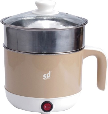 Smiledrive Multifunctional Electric Cooker & Steamer Stainless Steel Cooking Pot-Steam, Cook, Braise, Stew (1.3L, with Steam Rack) Rice Cooker, Food Steamer, Travel Cooker, Egg Boiler(1.2, Beige)  available at flipkart for Rs.1799