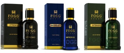 Fogg Scent Xtremo, Impressio and Intensio EDP Perfume Pack of 3 (90ML each) Eau de Parfum  -  270 ml(For Men)  available at flipkart for Rs.1468