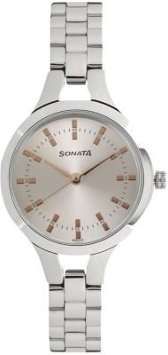 Sonata 8151SM01 Steel Daisies Analog Watch For Women