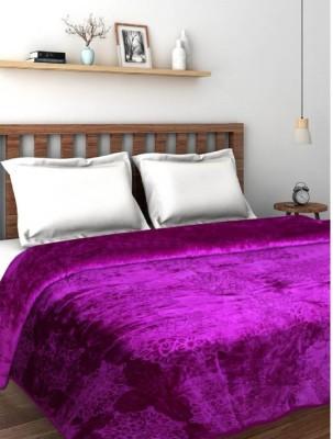 JaipurCrafts Solid Single Coral Blanket(Cotton, Purple)