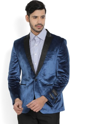 Arrow New York Solid Tuxedo Style Party Men's Blazer(Blue)