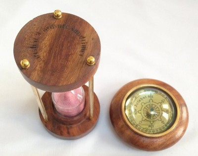 Artshai Antique combo of 3 minute hourglass & paperweight compass Compass(Brown)