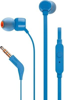 JBL T110 Pure Bass Wired Headset(Blue, Wireless in the ear)