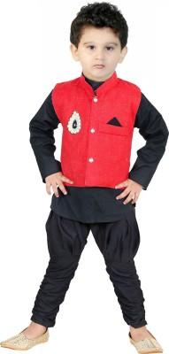 FTC Fashion Boys Festive & Party Kurta, Waistcoat and Pyjama Set(Black Pack of 1)  available at flipkart for Rs.235