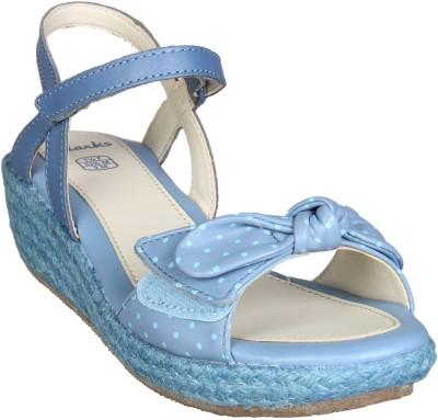 Clarks Girls Velcro Wedges(Light Blue)
