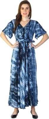 shiloh Women Printed Flared Kurta(Blue, Grey)