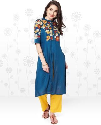 Anmi Floral Print Women's Straight Kurta(Blue)