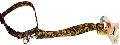 pets empire Durable Safe Strong Matching Nylon Army Print Adjustable Dog Collar and Leash Set For Medium Large Dogs and Cats Great For Walking and Training 124 cm Dog Strap Leash(Green)