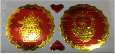 Shreeji Decoration Tiny 2 Pc of Diya and 2 Pc of Kumb/Kalash Sticker For Festival,Wall Decoration,Car,Door,Temples Sticker(Pack of 2)  available at flipkart for Rs.90