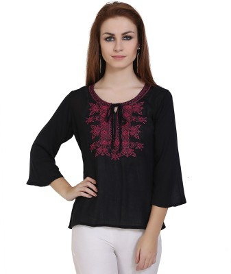 Forelevy Casual Flared Sleeve Embroidered Women Black, Maroon Top