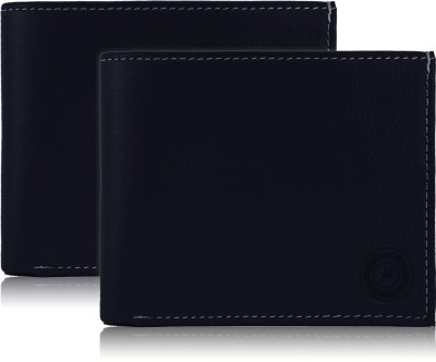 POLLSTAR Men Blue Genuine Leather Wallet(6 Card Slots)