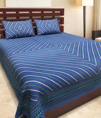 Jaipuri sanganeri cotton 300 TC Cotton Double King Printed Bedsheet(Pack of 1, Multicolor) at flipkart
