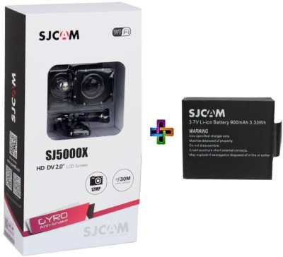 View SJCAM SJ5000X ELITE With extra battery 4K 24 fps Sony IMX078 Waterproof WiFi Sports & Action Camera(Black) Price Online(SJCAM)