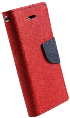 Close2deal Flip Cover for Micromax Canvas 5 Q450 Red(Red, Artificial Leather)