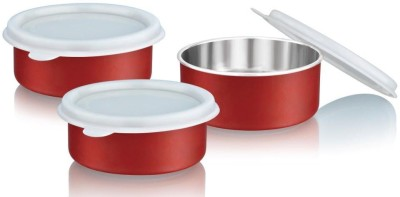 Flipkart SmartBuy Microwave Safe Canister  - 295 ml Steel Grocery Container, Fridge Container(Pack of 3, Red)