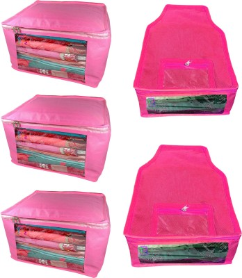 Atorakushon Saree & Blouse cover organiser Combo 3 Saree and 2 Blouse Lahenga cover wardrobe orgniser Wedding Gift Regular Clothes Bag Vanity pouch Set of 5 Pink At 3and2 big Non woven pink(Pink)