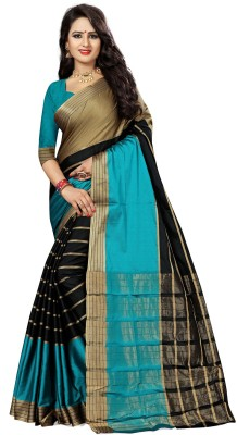 The Fashion Outlets Self Design, Plain Kanjivaram Cotton, Silk Saree(Green)