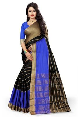 The Fashion Outlets Self Design, Plain Kanjivaram Cotton, Silk Saree(Blue)