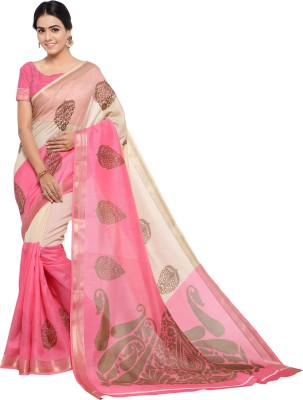 ab8eefbd0966a Sunaina Printed Bollywood Poly Chanderi Saree(Pink)