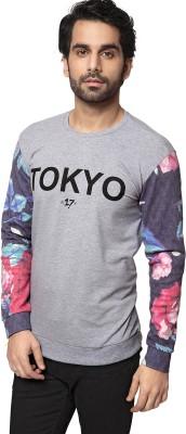 ZEYO Floral Print Men's Round Neck Grey T-Shirt