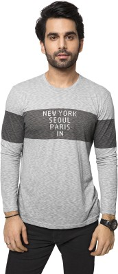 ZEYO Self Design Men's Round Neck Grey T-Shirt
