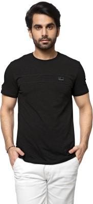 ZEYO Solid Men's Round Neck Black T-Shirt