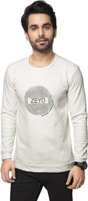 ZEYO Self Design Men's Round Neck White T-Shirt