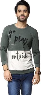 ZEYO Self Design Men's Round Neck Dark Green T-Shirt