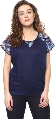 MAYRA Casual Regular Sleeve Floral Print Women Dark Blue Top MAYRA Women's Tops