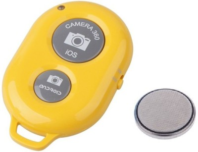 ReTrack Camera Wireless Bluetooth Remote Controler Shutter For Selfie Stick-Tripod-Samrt Phone Tripod Kit(Yellow, Supports Up to 200 g)  available at flipkart for Rs.222