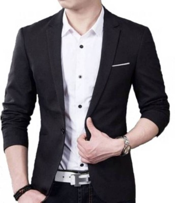 one click Solid Single Breasted Casual, Wedding Men Blazer(Black)