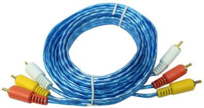 FOX MICRO 3RCA Male to 3RCA Male RWY Plugs, Composite Video & Stereo Audio Connectors Cable for DVD Players, VCR, camcorder, Projector, Game Console and More - (Red, White, Yellow) (15Ft 5METER)-COLOR MAY VERY RCA Audio Video Cable(Blue)  available at flipkart for Rs.399