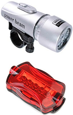 Gadget Hero's Powerbeam Silver Bicycle LED Front Rear Light Combo(Silver)
