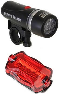 Gadget Hero's Powerbeam Black Bicycle LED Front Rear Light Combo(Black)