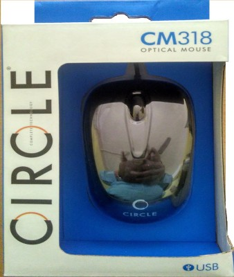 Circle CM318 Optical Mouse Wired Optical Gaming Mouse USB, Black