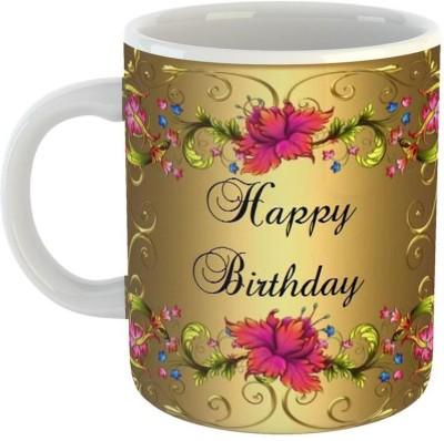GiftOwl Best Selling Golden Happy Birthday Ceramic Coffee for Friend, Girlfriend & BoyFriend Glossy Finish With Vibrant Print Ceramic Mug(350 ml)