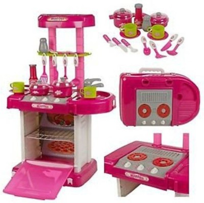 M-Alive Big Size Battery Operated Portable Musical Kitchen Set with Light and Accessories