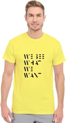 Redfool Fashions Graphic Print Men's Round Neck Yellow T-Shirt
