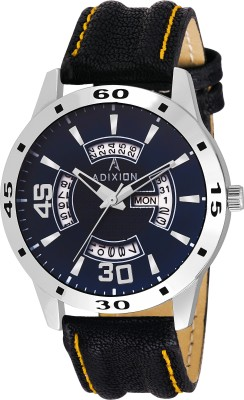 ADIXION 9519SLD49 New Leather Strep Stainless Steel Day & Date Youth Watch Watch  - For Men & Women