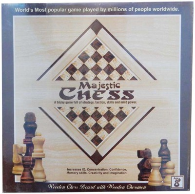eRunners Wooden Majestic Chess With Wooden Chessmen Family Game Board Game  available at flipkart for Rs.699