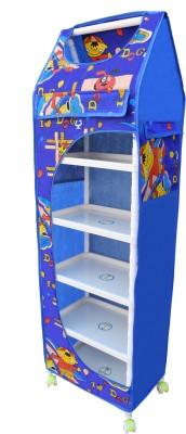 Flipzon Multipurpose 6 Shelve Foldable Almirah(Dogy)/Toy Box PVC Collapsible Wardrobe(Finish Color - Blue)