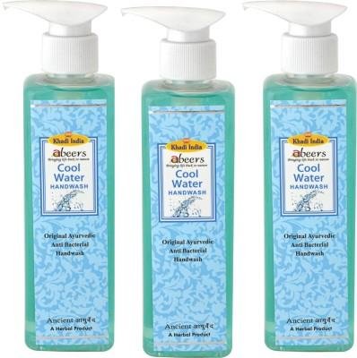 khadi abeers COOL WATER HANDWASH - Set of 3 pcs(250 ml, Pump Dispenser, Pack of 3)