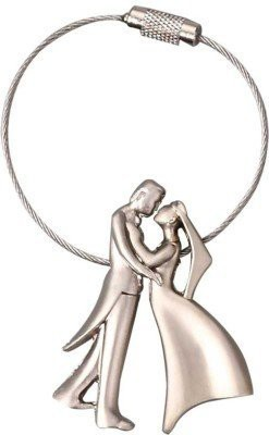 Universal Romantic Happiness Bridegroom Couple Silver Key Chain  available at flipkart for Rs.190