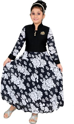 FTC FASHIONS Girls Maxi/Full Length Party Dress(Black, Full Sleeve)