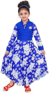 FTC FASHIONS Girls Maxi/Full Length Party Dress(Blue, Full Sleeve)